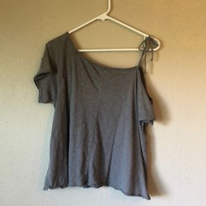 White Crow Gray off the shoulder tee